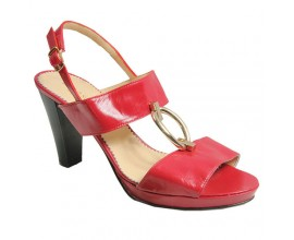 Bello Scarpa Red Sandals With Gold Accessory