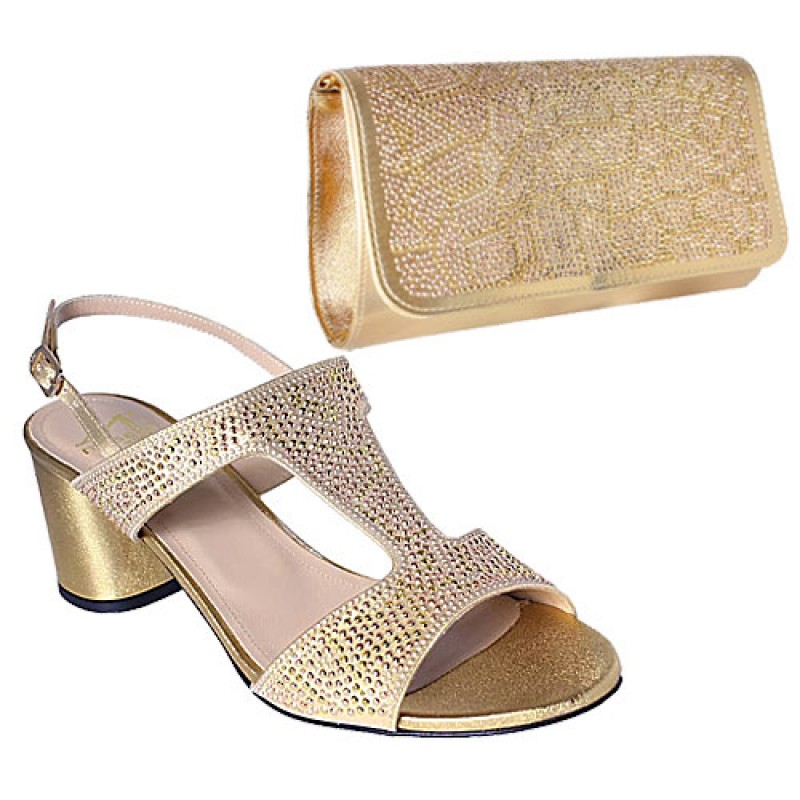 Gold Sandals and Bag With Rose-gold Accessories