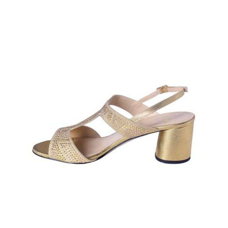 Musella Gold Sandals With Rose-gold Accessories